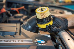 bmw oil filter being changed